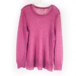 J JILL | sweater crew open weave mohair blend L
